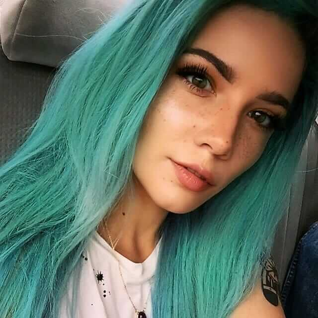 Long pastel green straight hairstyle by iamhalsey