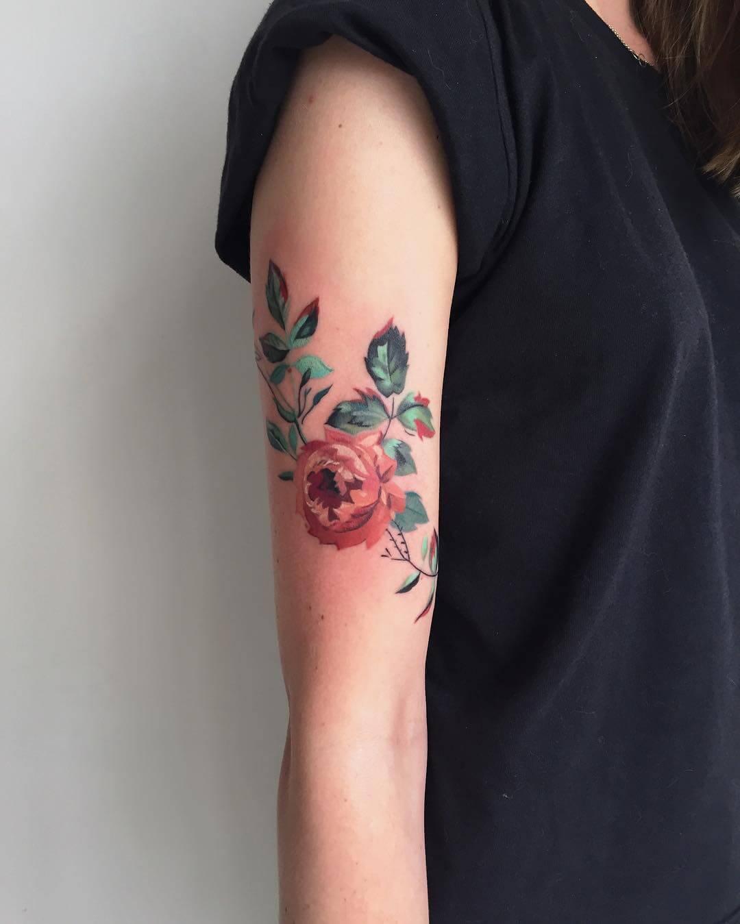 Flowers Tattoo Black Arm Tattoo Tattooed Tattoos: 27 Inspiring Rose Tattoos Designs