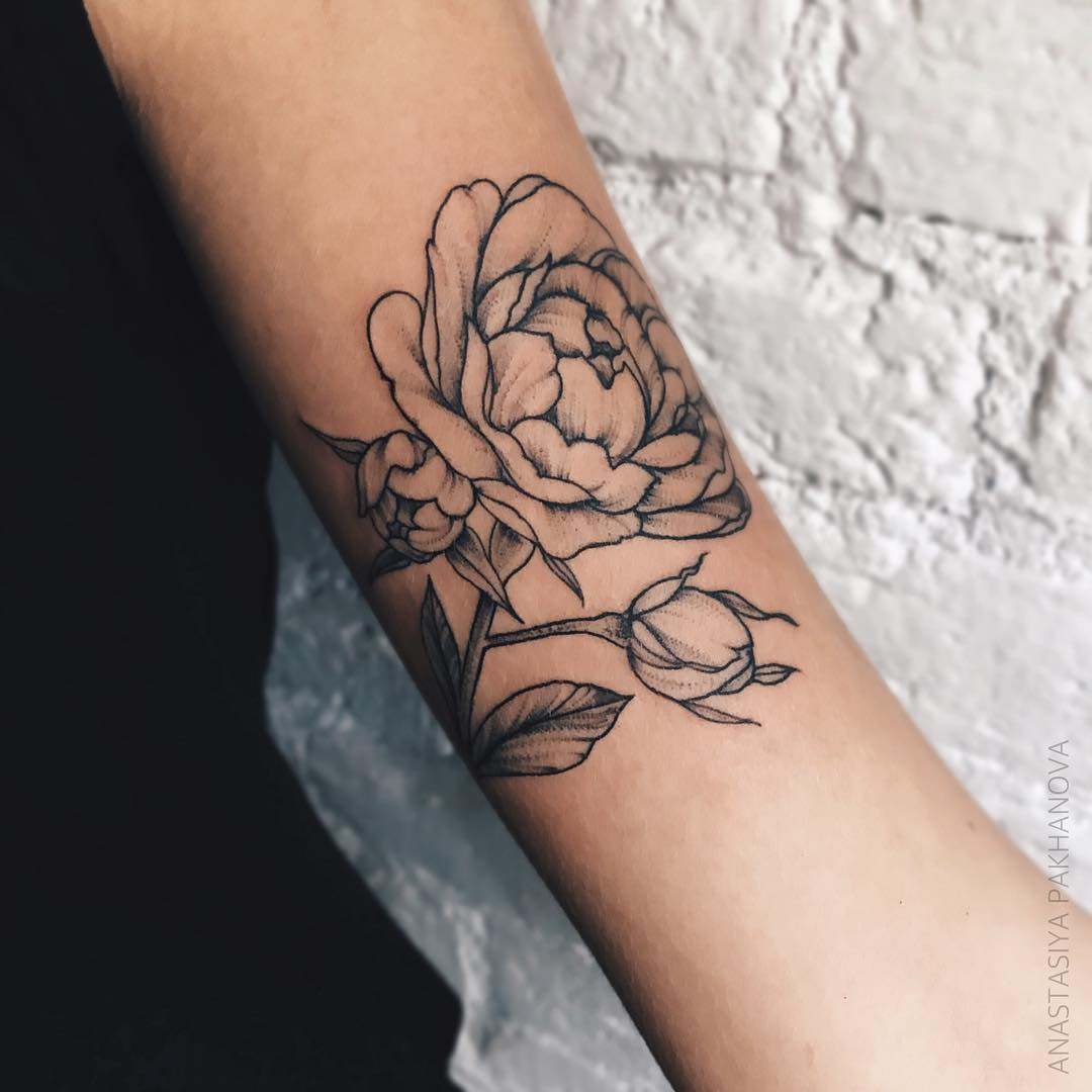 Rose flower linework tattoo by pakhanova