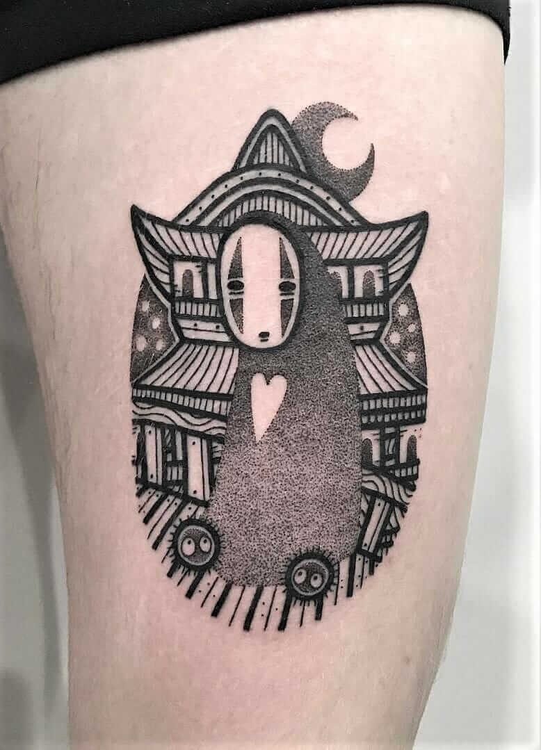 No-face with heart tattoo & bath house on background by hugotattooer