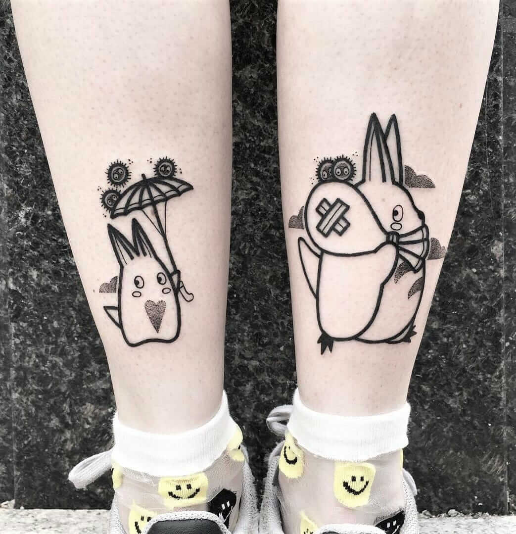Totoro & Sootballs legs tattoos by hugotattooer