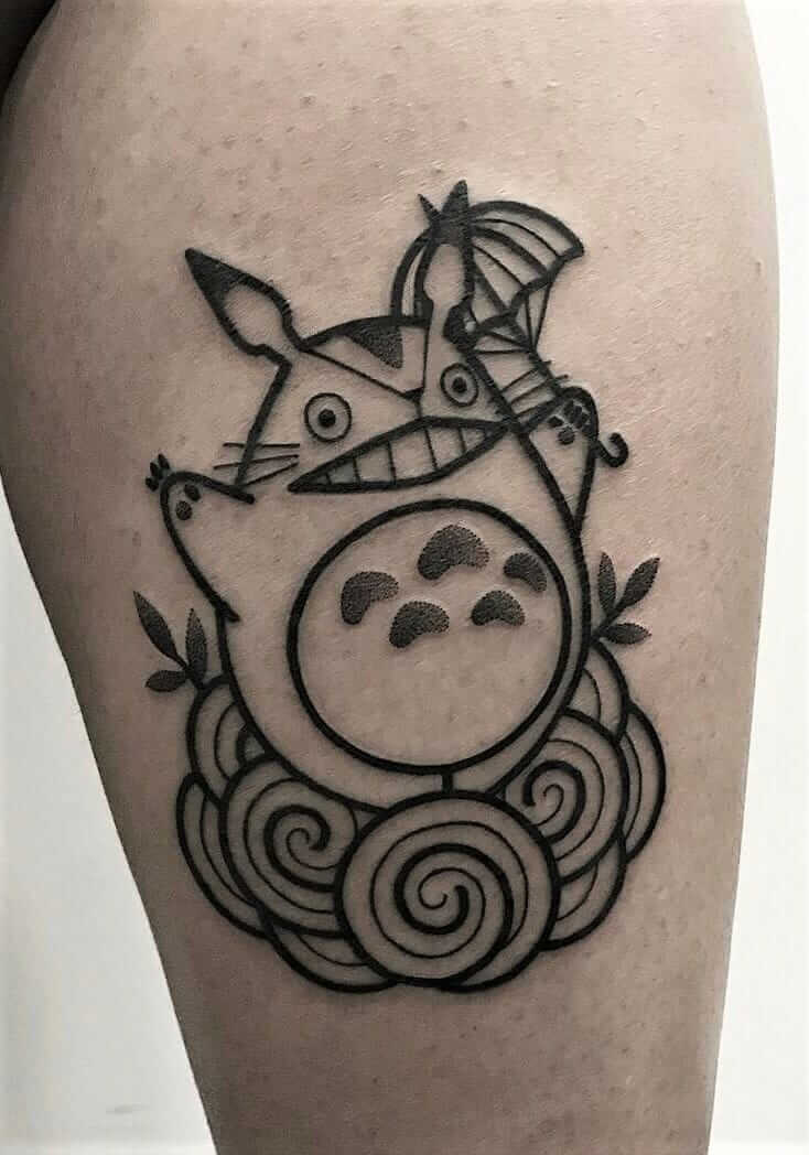 Totoro with umbrella tattoo by hugotattooer