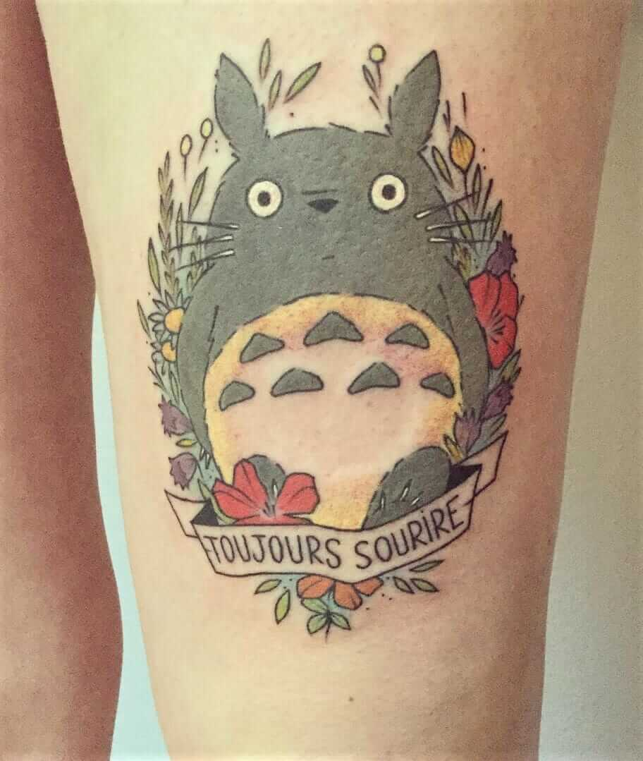 Totoro & french quote tattoo by virginiebtattoo