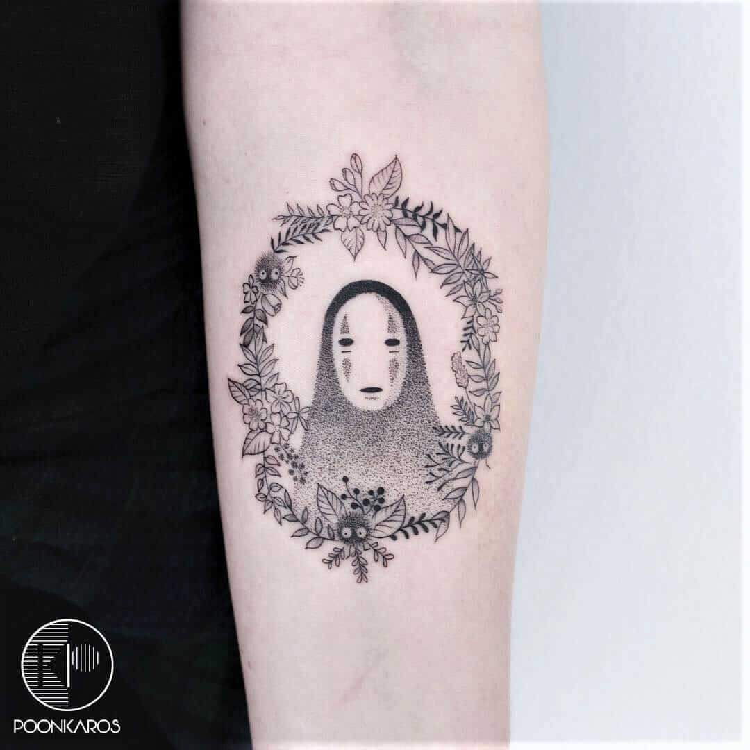 No-face spirit with flowers crown tattoo by poonkaros