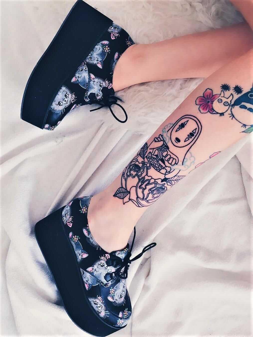 Studio Ghibli leg tattoos from nekomatahime