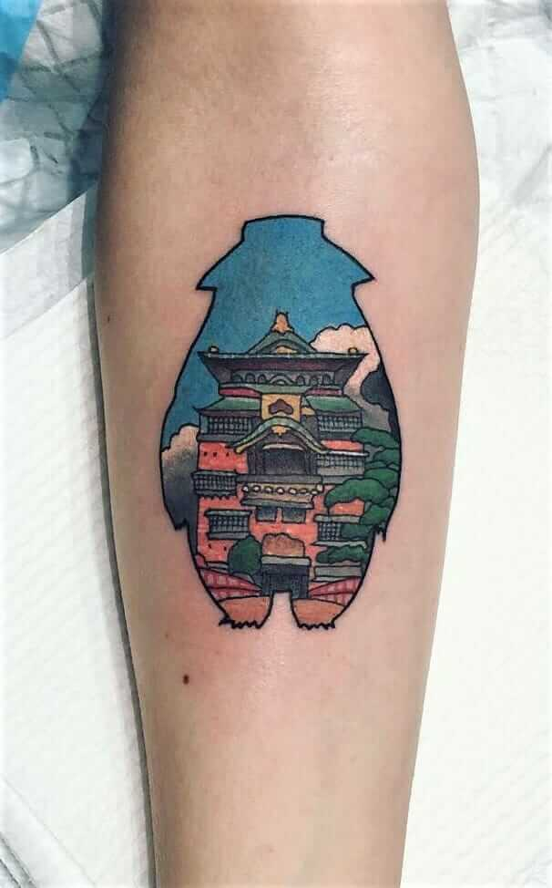 """Spirited Away"" bath house inside silhouette colored tattoo by laurenwinzer"