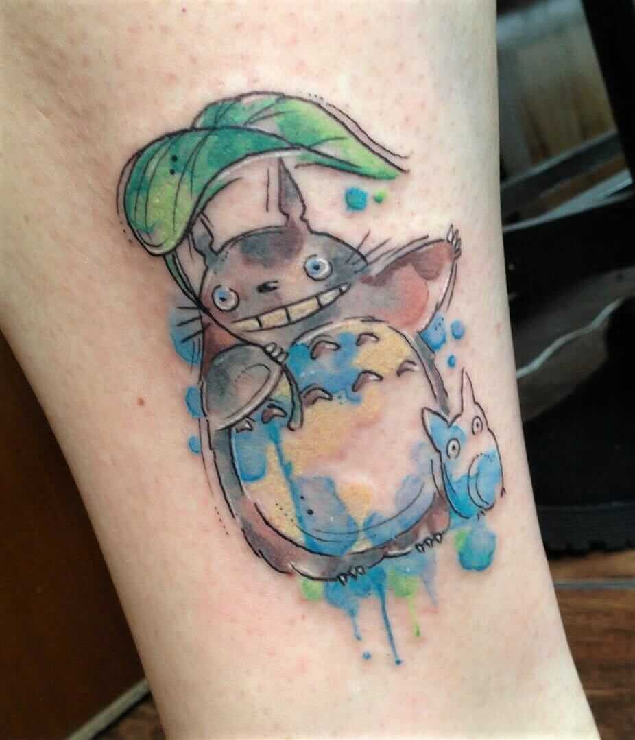 Watercolor Totoro leg tattoo by clare_lala_tattoo