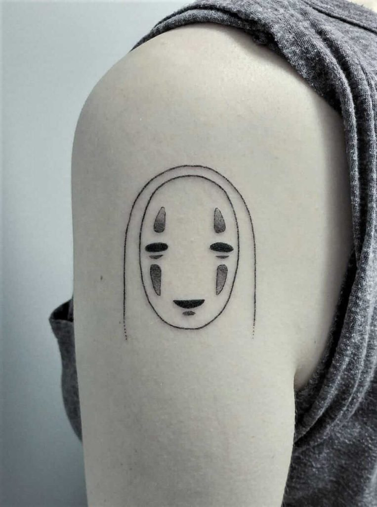 No-face smiling tattoo by teagan.campbell