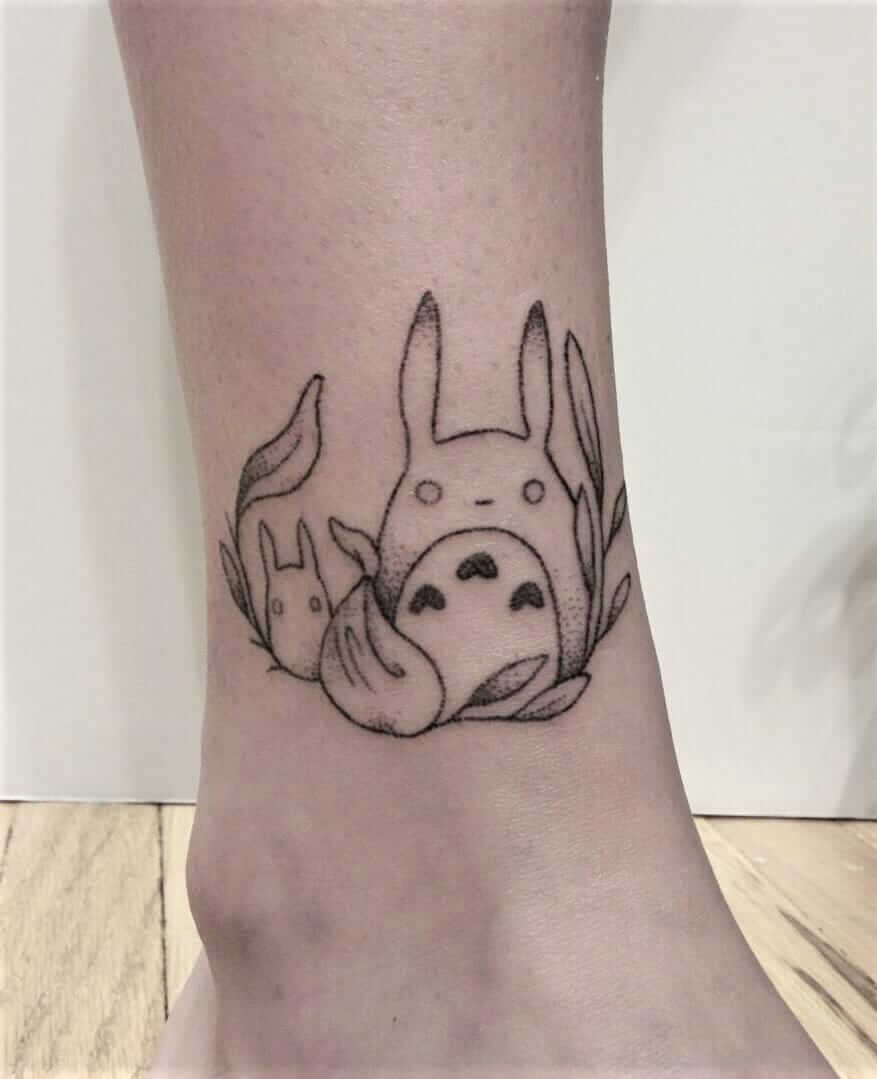 "Hand poked ""My Neighbor Totoro"" ankle tattoo by teagan.campbell"