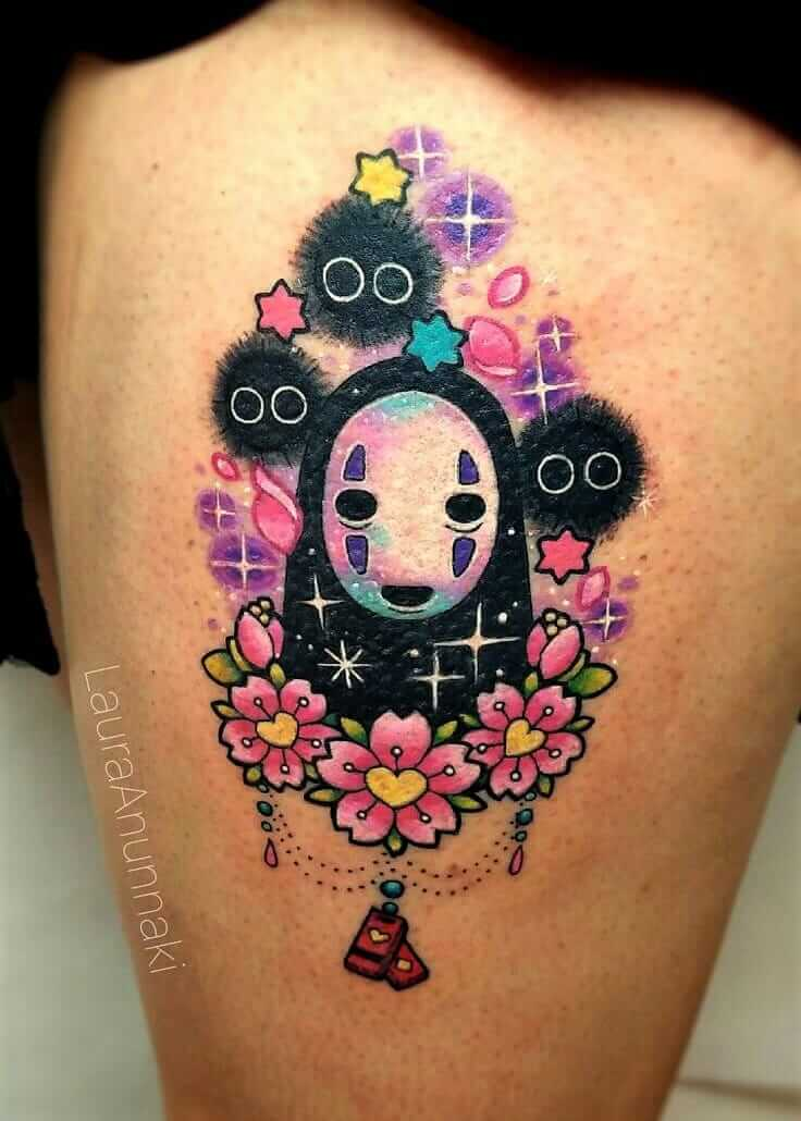 No-face spirit & Sootballs colored leg tattoo by anunnakitattoo