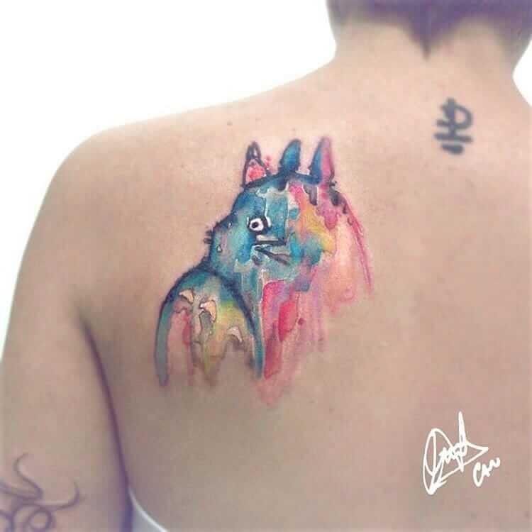 Totoro watercolor tattoo by carballocandelaria