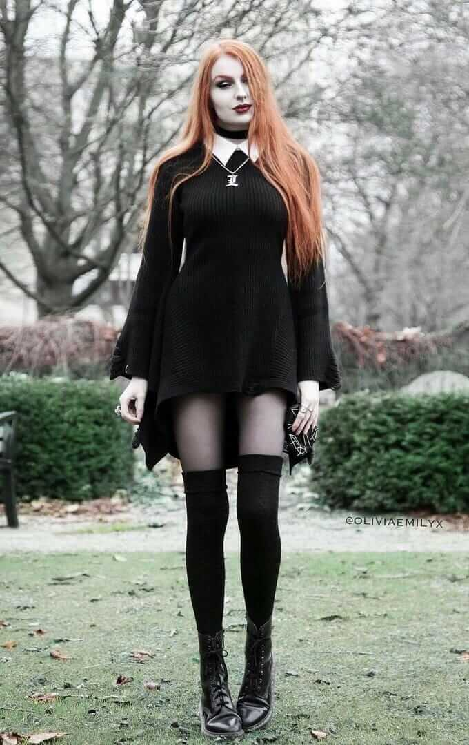 Long knitted black dress with stockings, long socks & combat boots by oliviaemilyx