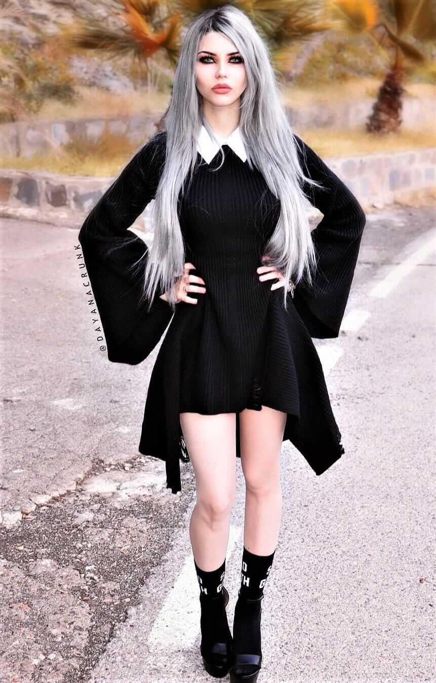 Black Knit Dress with collar, black socks & footwear by dayanacrunk
