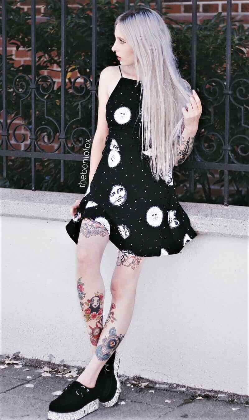 Corset back black & white sleeveless shift dress with creepers shoes by thebentofox