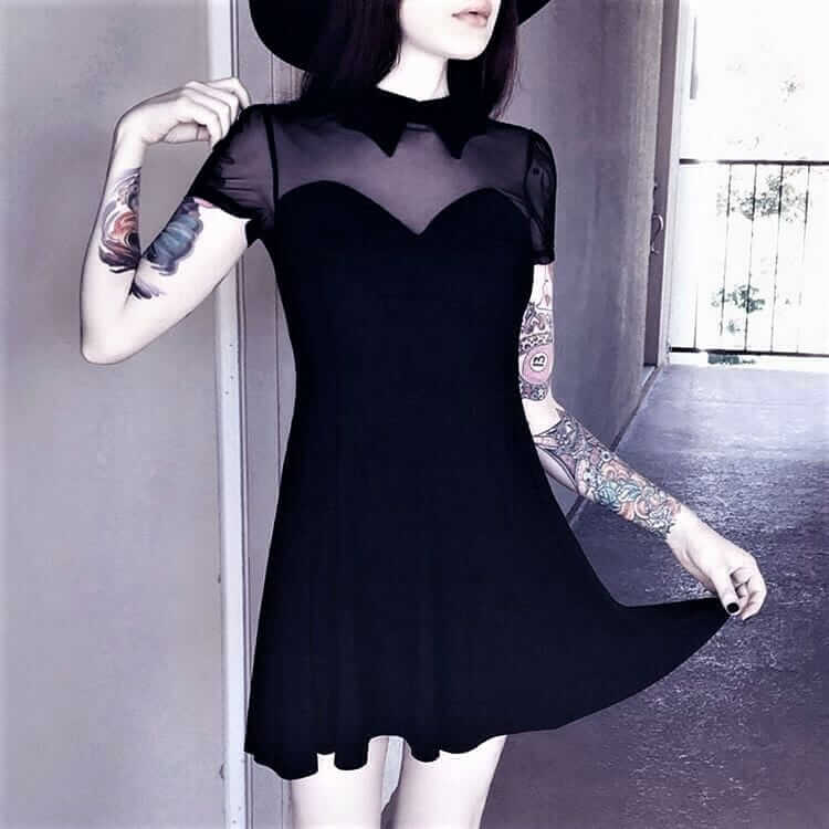 Vampyra Night creature skater dress with black round hat by tequilastar