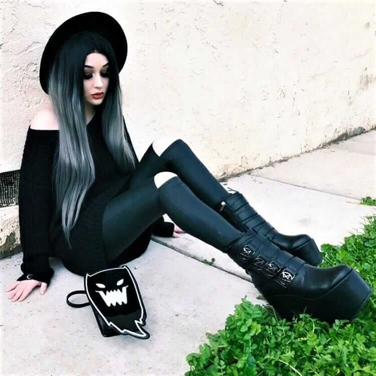 "Black round hat with knitted sweater, black ripped pants, platform boots & ""evil ghost"" handbag by xdeceiver"