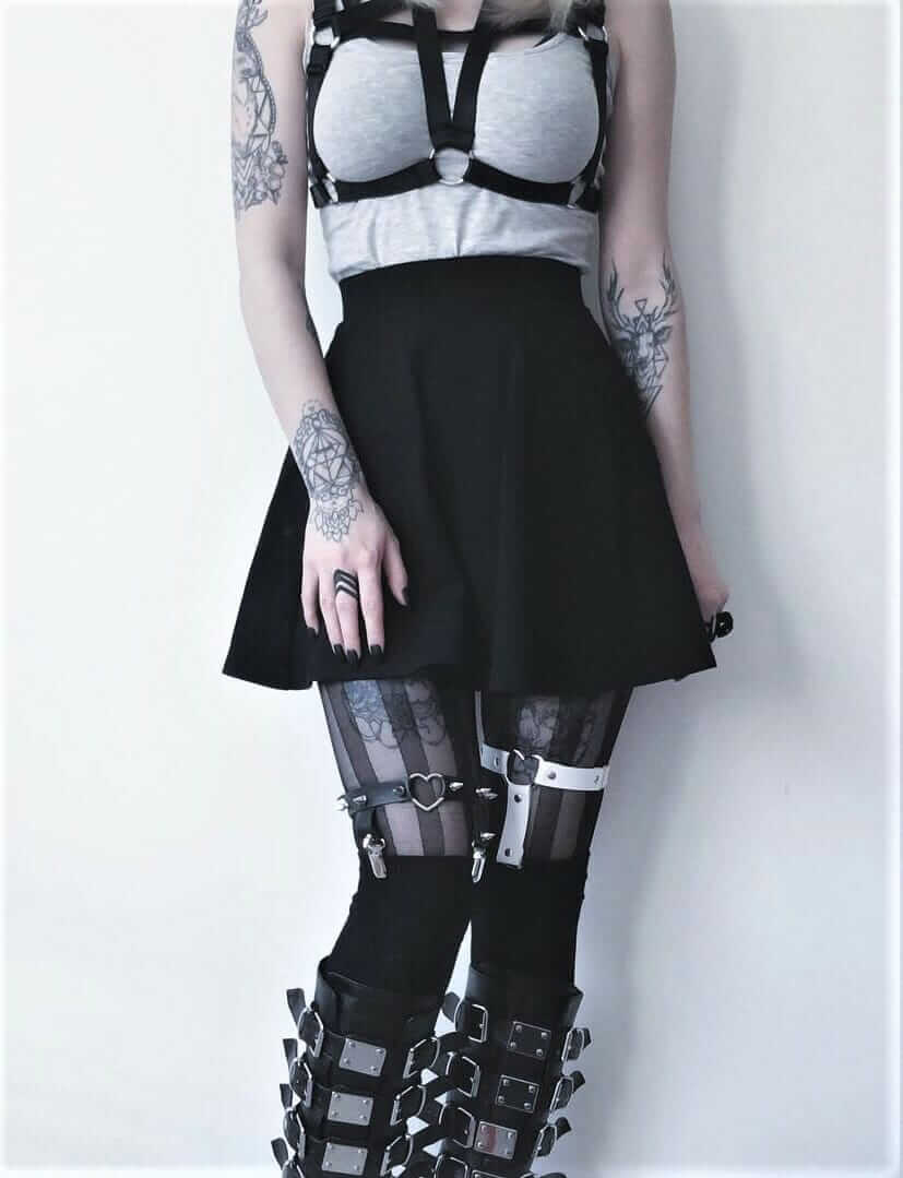 Body harness with grey top, skater skirt, garter belt & platform boots by kibbipixel