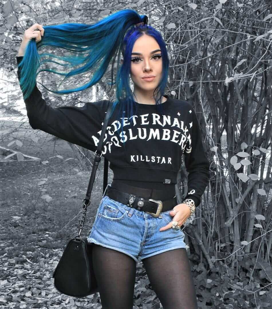 Slumber crop sweatshirt with black under tee, denim shorts & pantyhose by sandrarclemente