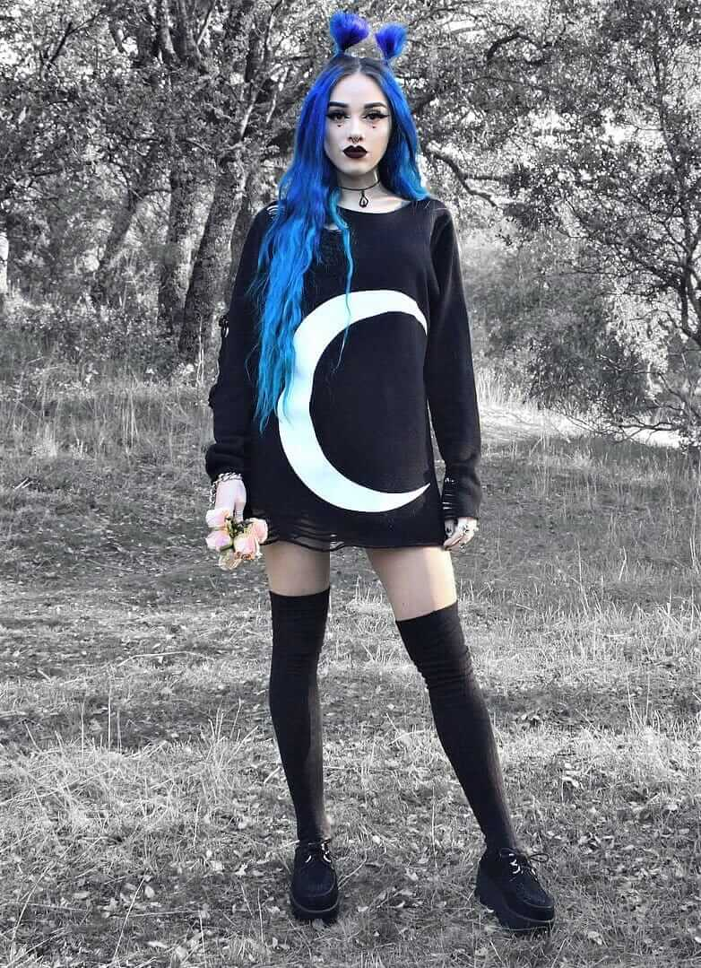 Necklace pendant with distressed Luna knitted sweater, long black socks & creepers shoes by sandrarclemente