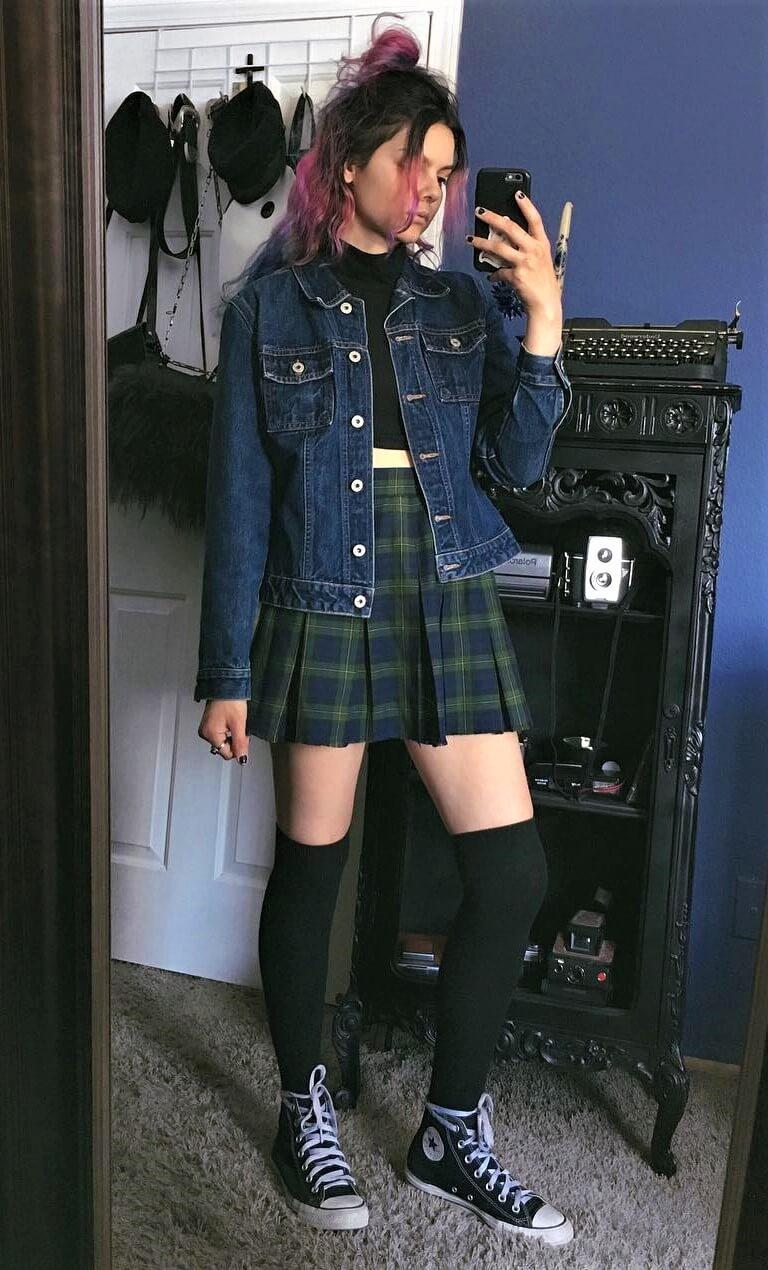 Denim jacket, black crop top, plaid skirt, long socks & converse shoes by athousandchapters