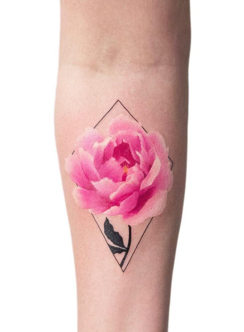 Small colored half sleeve rose flower tattoo