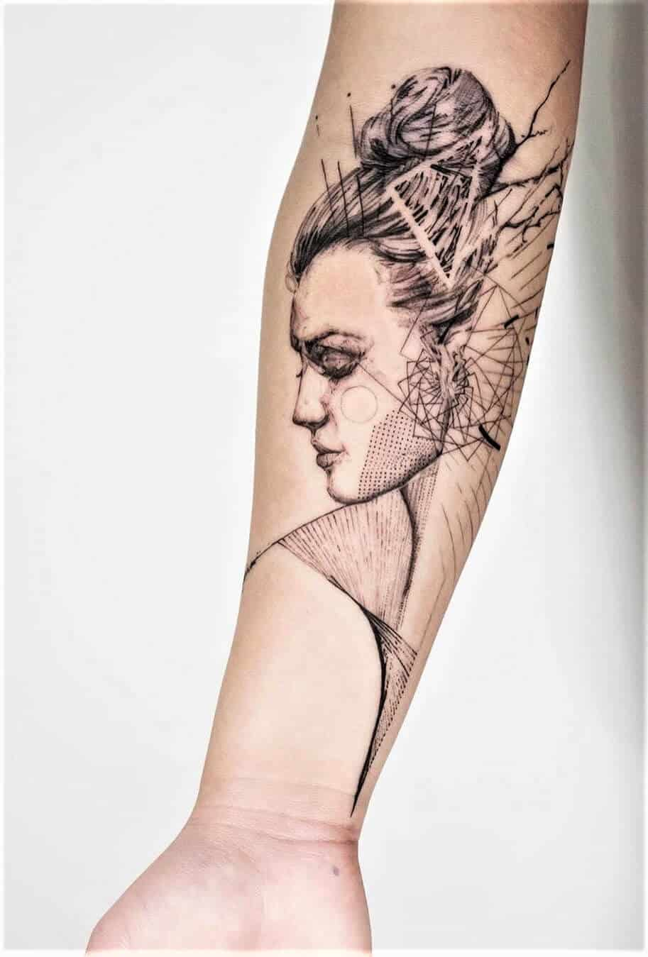 Portrait graphical tattoo