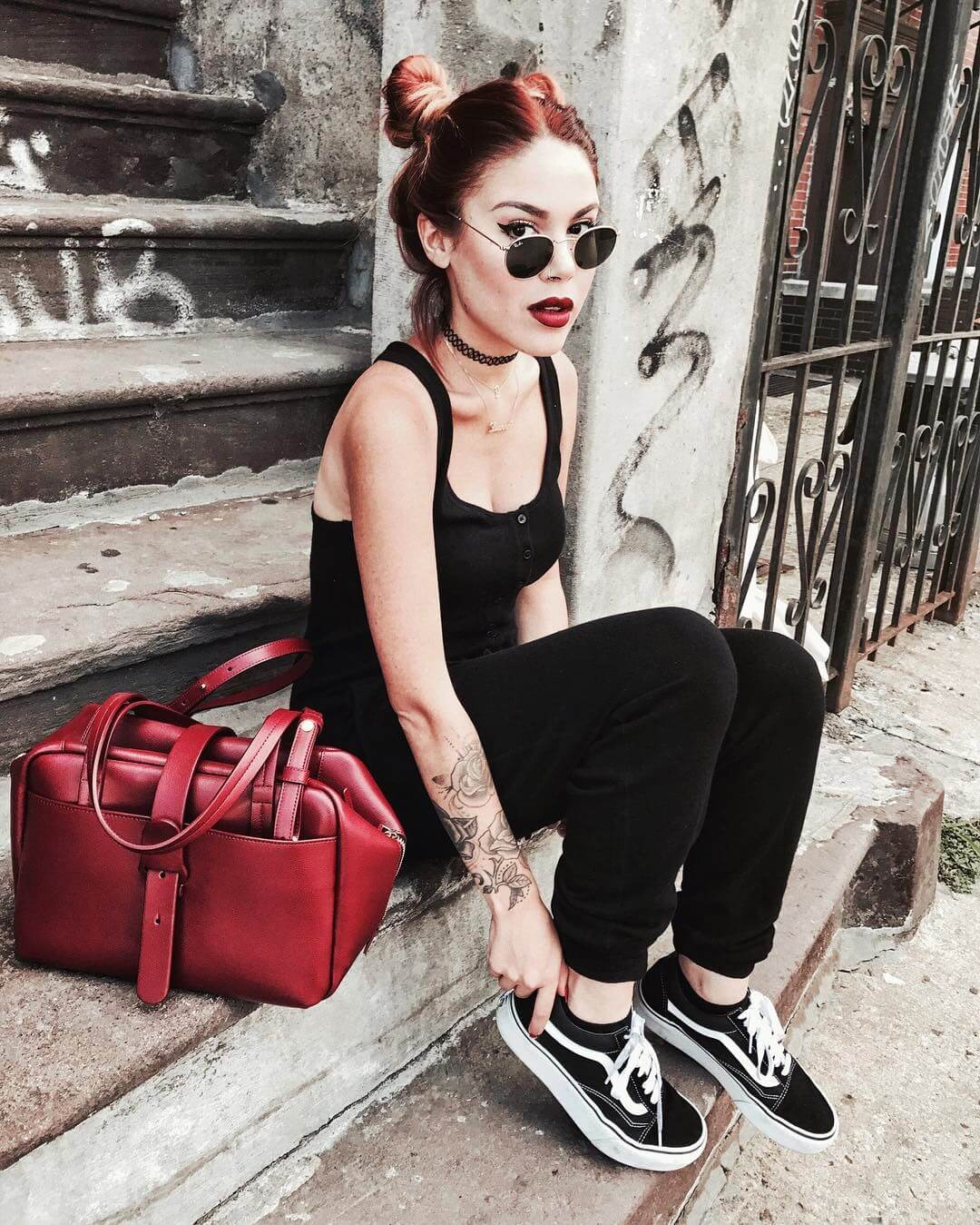 Shades, Choker necklace, black top, pants & Vans shoes by luanna