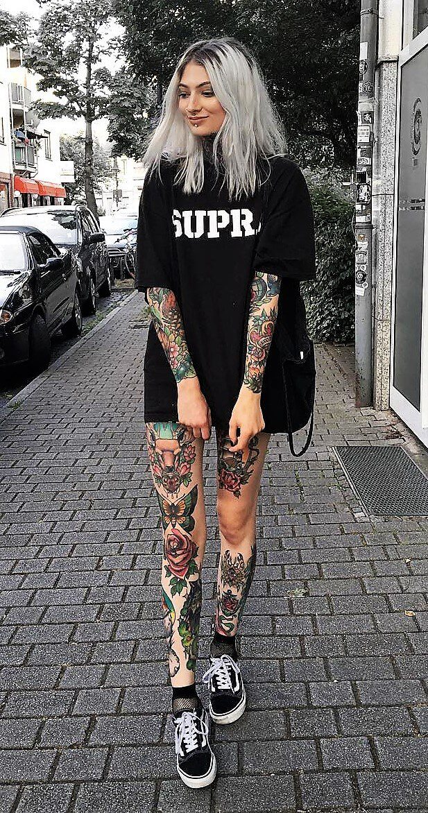 a7a9beb0065f7 Oversized black printed tee with shorts, fishnet socks & Vans shoes by  internetxdoll