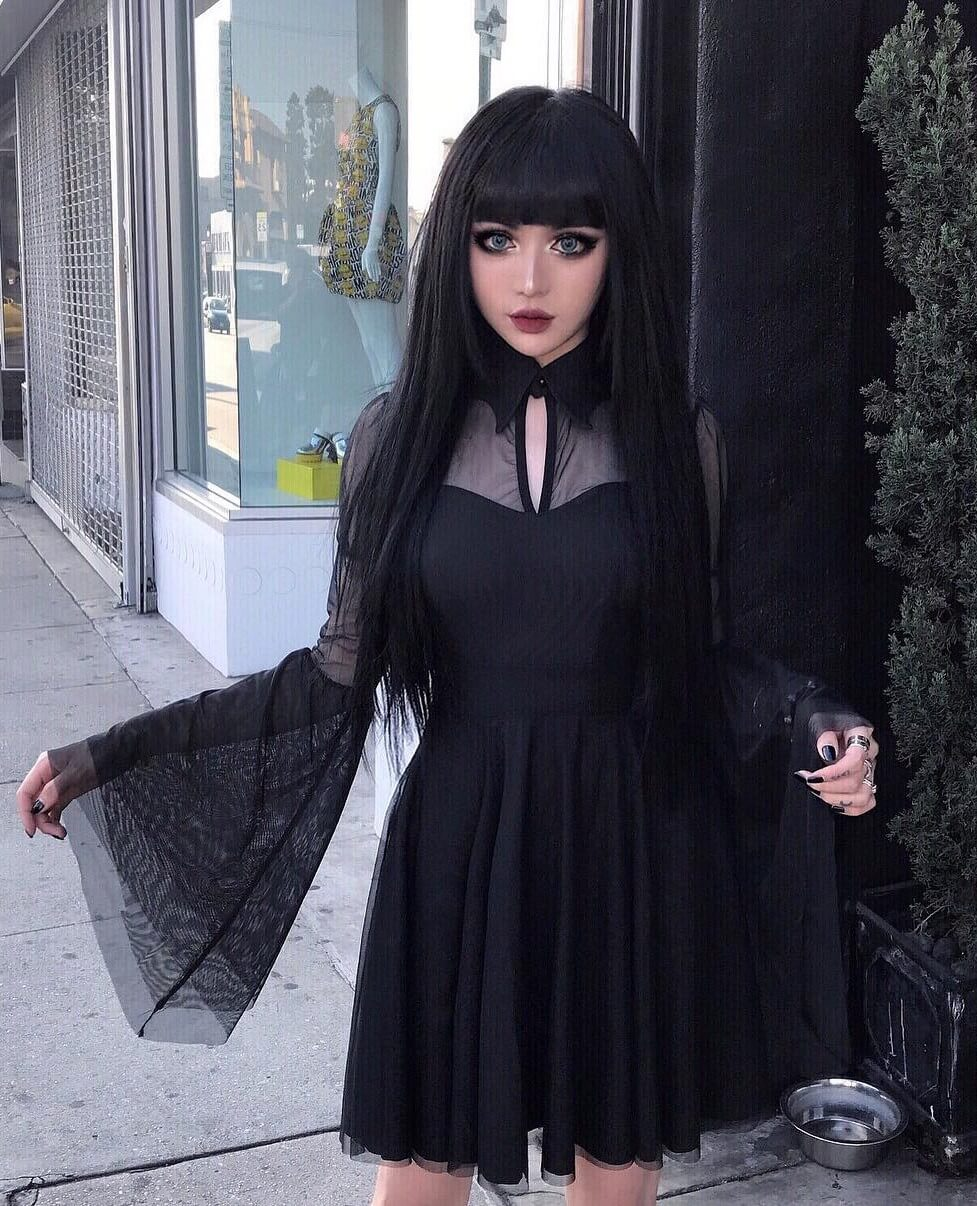 Nu-goth look by kinashen: long black dress