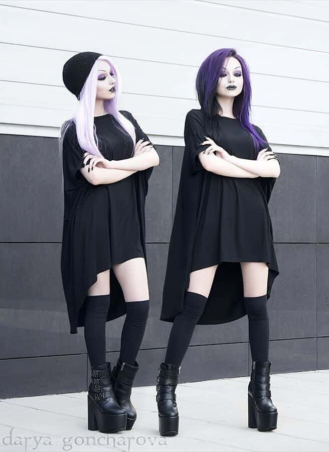 Long black dress nu-goth look by darya_goncharova_