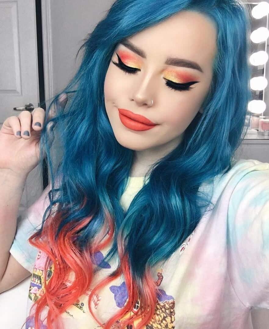 Aquamarine With Some Fiery Porange Tips Hair Dye By Hailiebarber