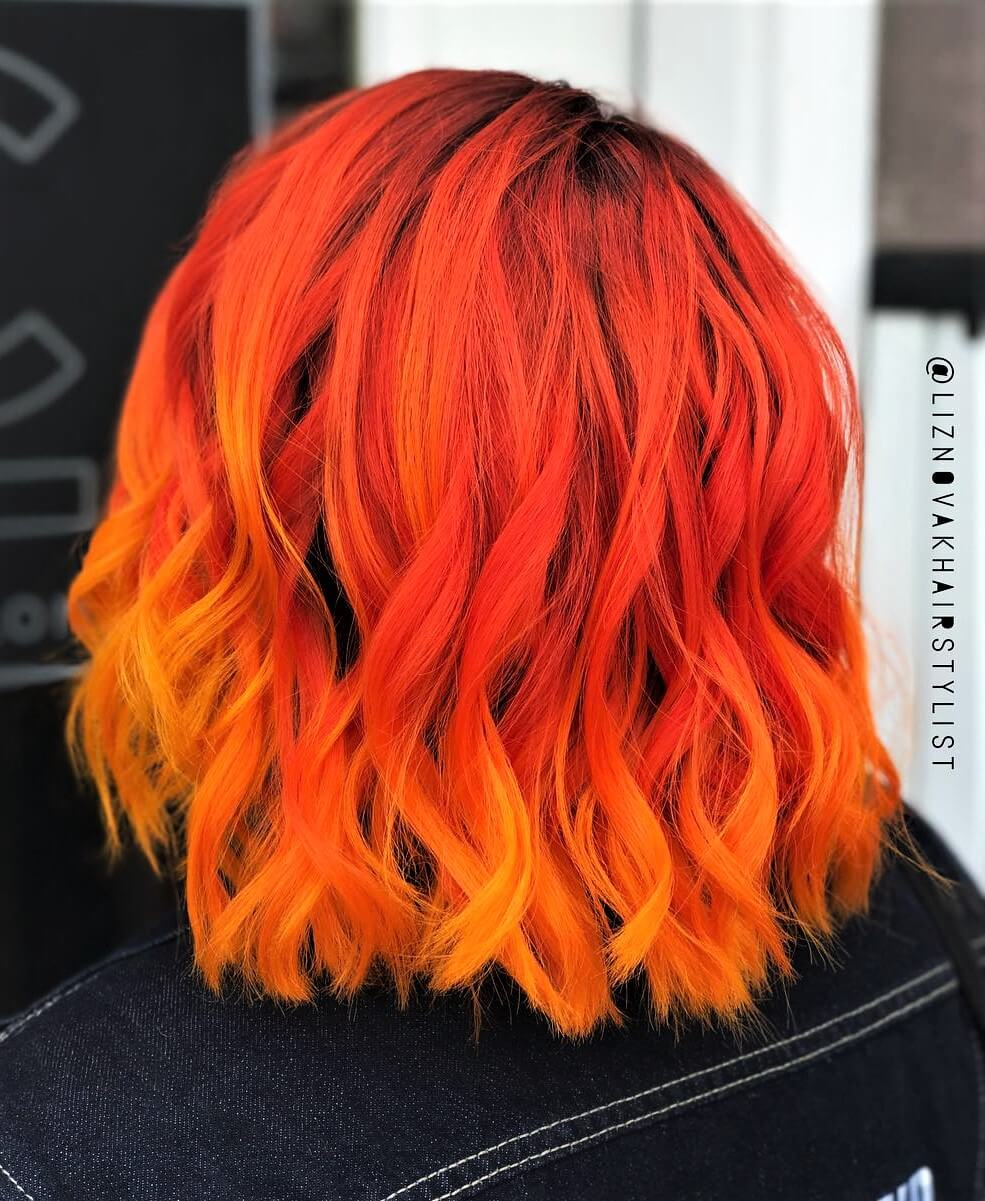 Sunset Orange hair dye with a few drops of Cosmic Sunshine hair dye by liznovakhairstylist