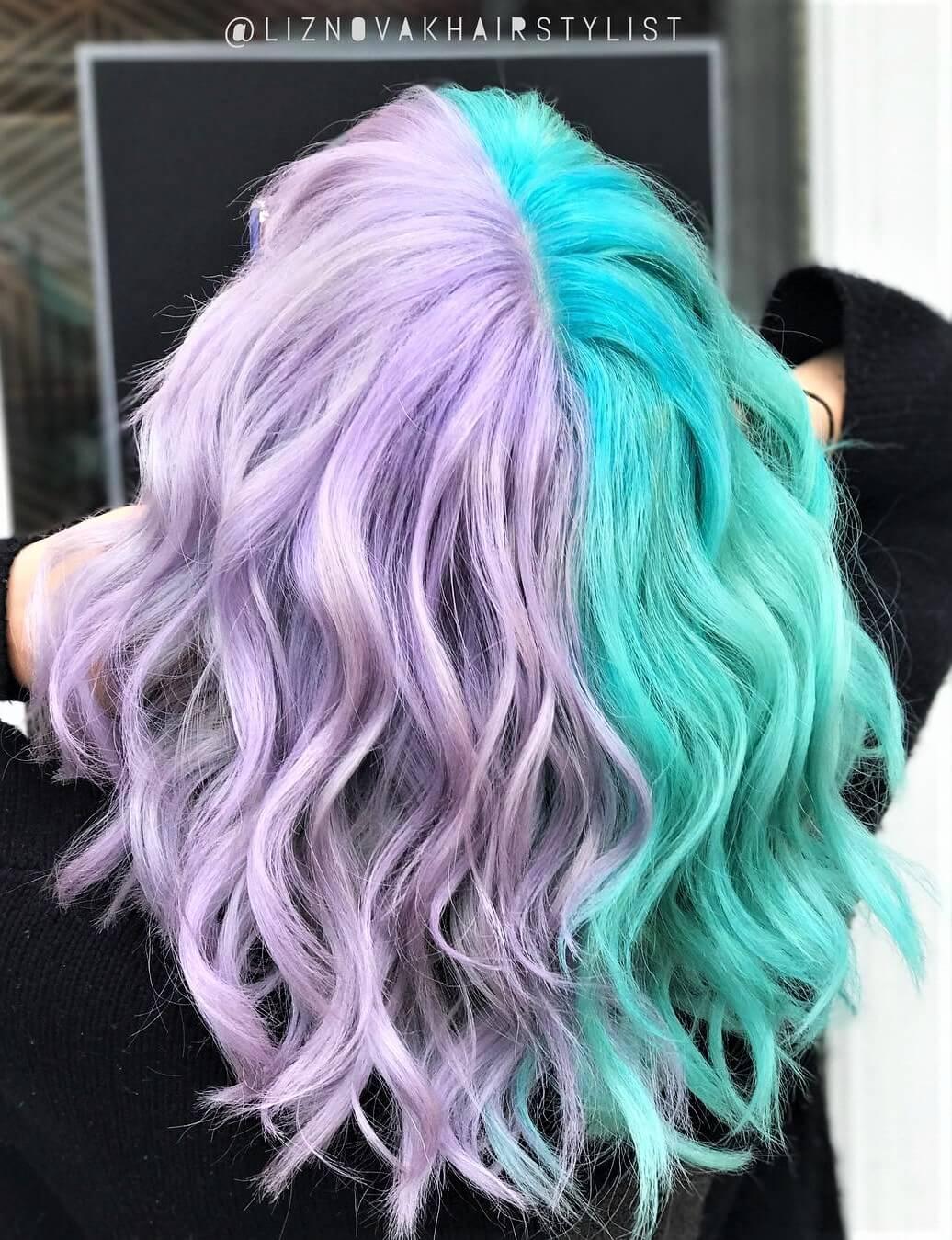 Unicorn hair symmetry styled with very diluted Purple Rain hair dye & Aquamarine dye by liznovakhairstylist