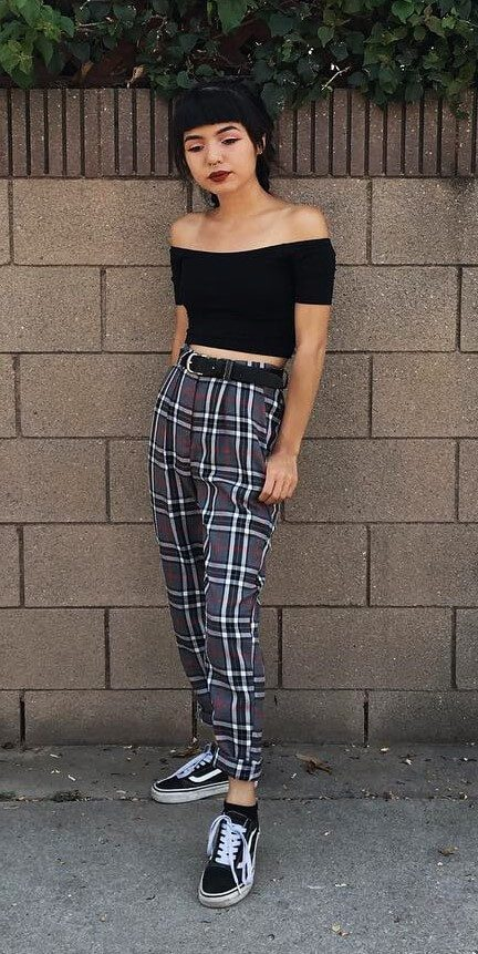 3cf4fec9355dd Off-the-shoulder black crop top with plaid pants   Vans by lilcrybaaby