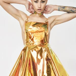 Club Exx - Flame Gurl Hologram Overall Dress