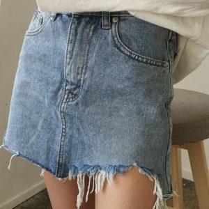 Irregular Edges Denim Skirt 2