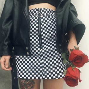 Zipper Ring Checkerboard Mini Skirt 4