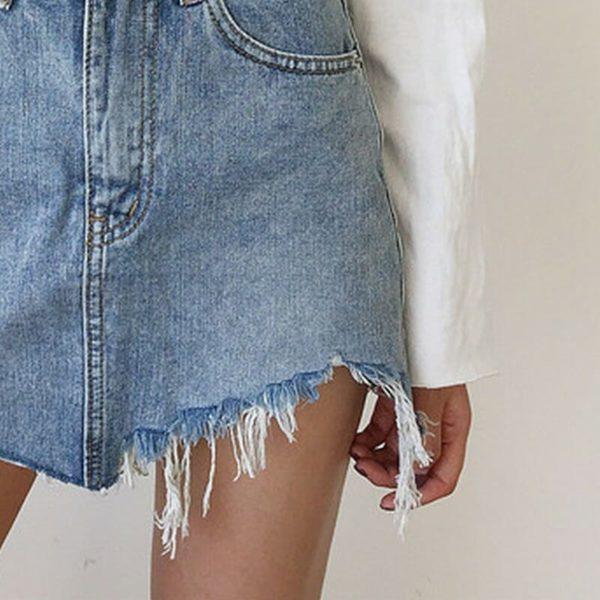 Irregular Edges Denim Skirt 4