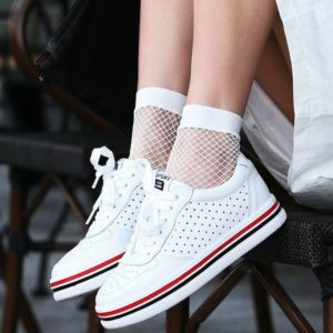 White Mesh Fishnet Ankle Socks 1