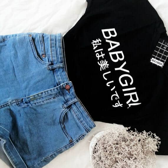 """""""BABYGIRL"""" Japanese Letters Graphic Tee"""