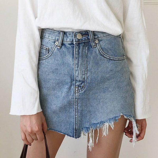 Irregular Edges Denim Skirt