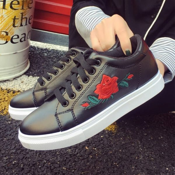 Rose Embroidered Lace-Up Shoes 1
