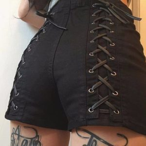 Criss Cross High Waist Black Shorts