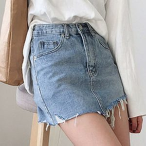 Irregular Edges Denim Skirt 1