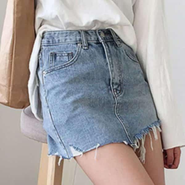 Irregular Edges Denim Skirt 1