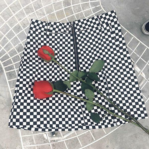 Zipper Ring Checkerboard Mini Skirt 2