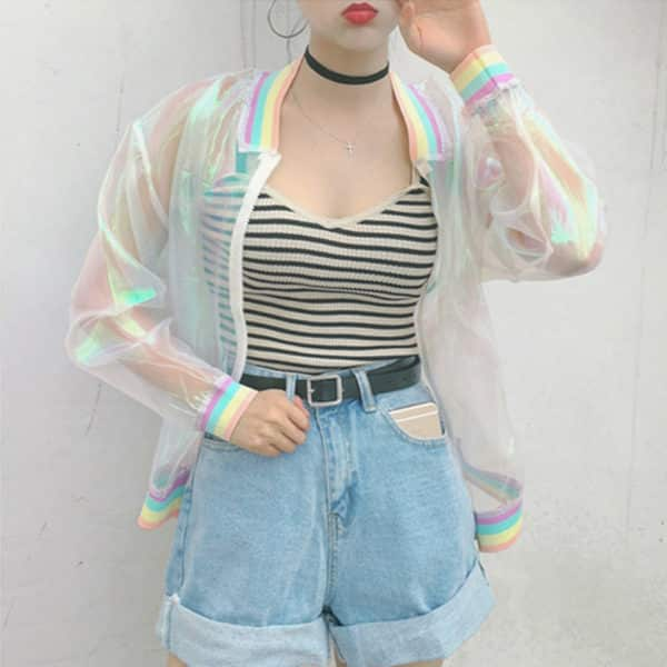 Rainbow Hologram Bomber Jacket 2