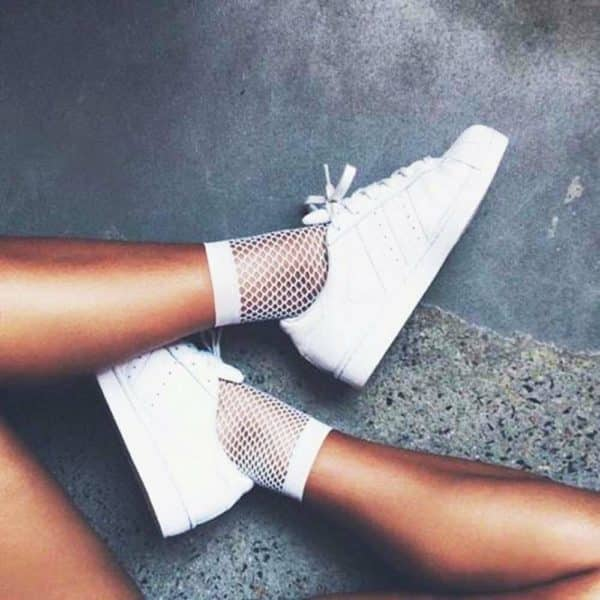 White Mesh Fishnet Ankle Socks