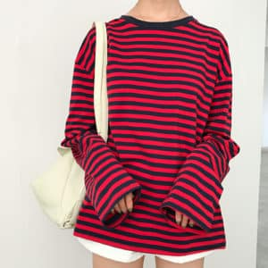 Loose Long Sleeve Striped All Match Top