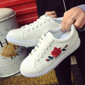 Rose Embroidered Lace-Up Shoes 2